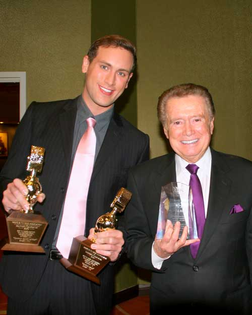 REGIS PHILBIN AND SEAN PATRICK LEWIS AFTER THE GALA, EACH HOLDING THEIR GOLDEN MIC AWARDS FROM THE RTNA.